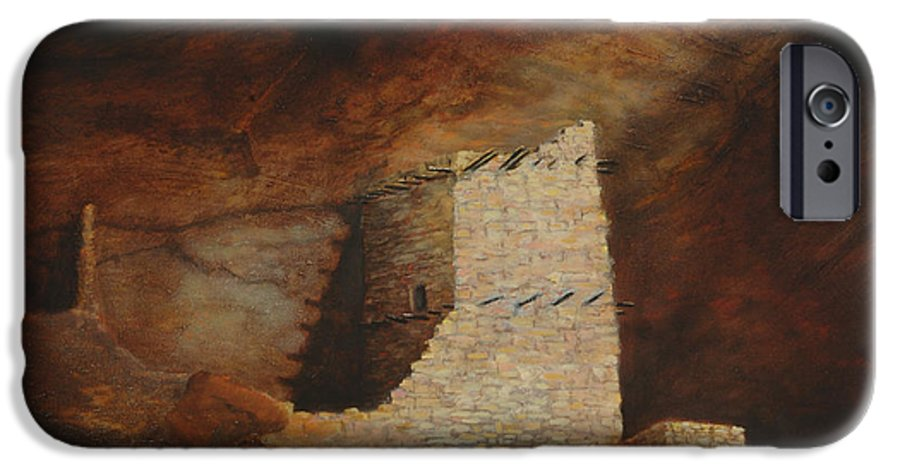 Anasazi IPhone 6 Case featuring the painting Mummy Cave by Jerry McElroy