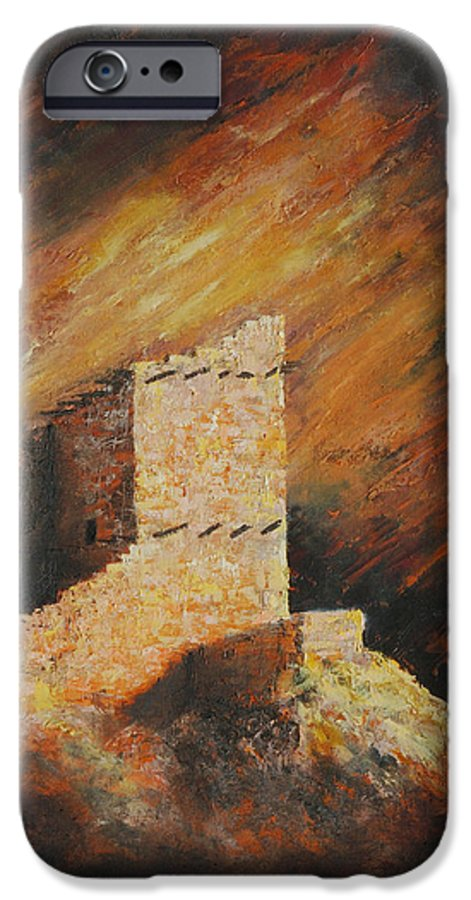 Anasazi IPhone 6 Case featuring the painting Mummy Cave Ruins 2 by Jerry McElroy