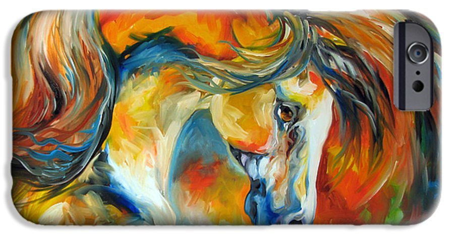 Equine IPhone 6 Case featuring the painting Mustang West by Marcia Baldwin