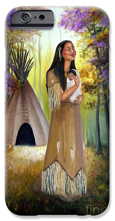 Native American IPhone 6 Case featuring the painting Native American Mother And Child by Lora Duguay