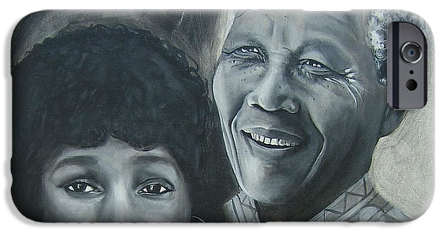 From Black & White Series IPhone 6 Case featuring the painting Nelson And Winnie by Howard Stroman