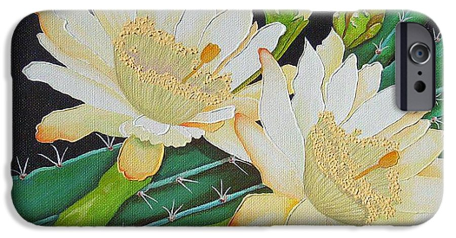 Acrylic IPhone 6 Case featuring the painting Night Blooming Cacti by Carol Sabo