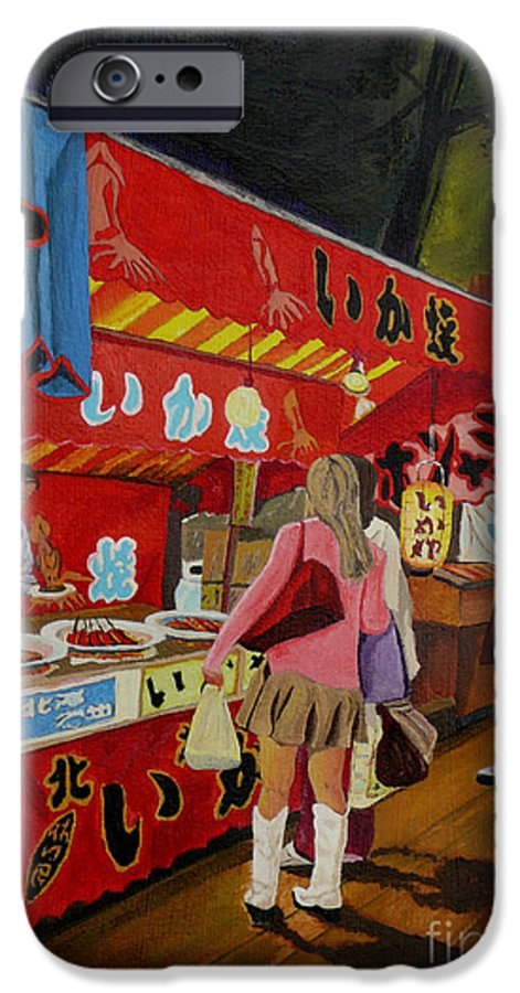 Japan IPhone 6 Case featuring the painting Night Festival by Anthony Dunphy
