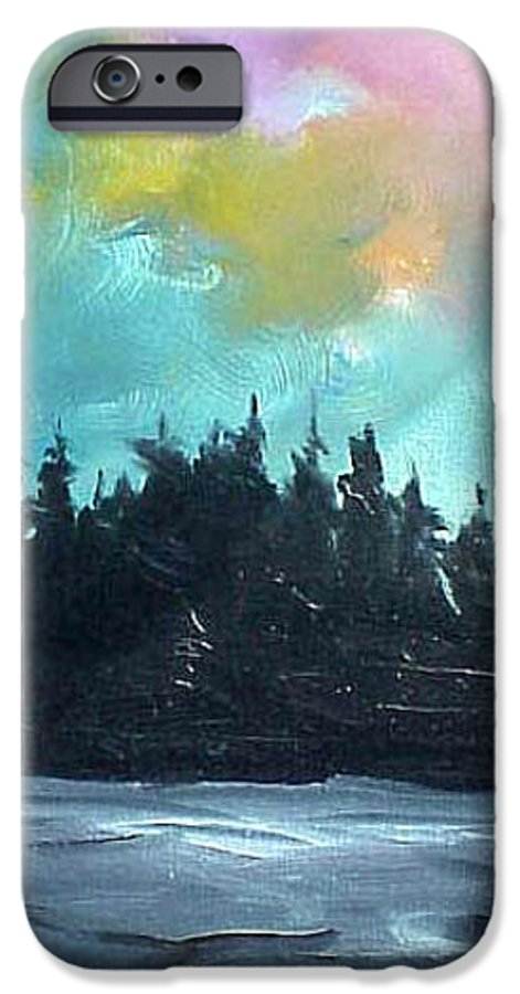 Landscape IPhone 6 Case featuring the painting Night River by Sergey Bezhinets