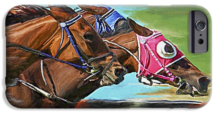 Horses IPhone 6 Case featuring the painting Nikita By A Head by David Wagner