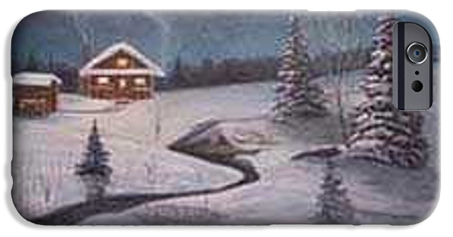 Rick Huotari IPhone 6 Case featuring the painting North Woods Cabin by Rick Huotari