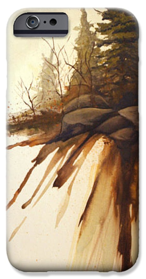 Rick Huotari IPhone 6 Case featuring the painting North Woods Pines by Rick Huotari
