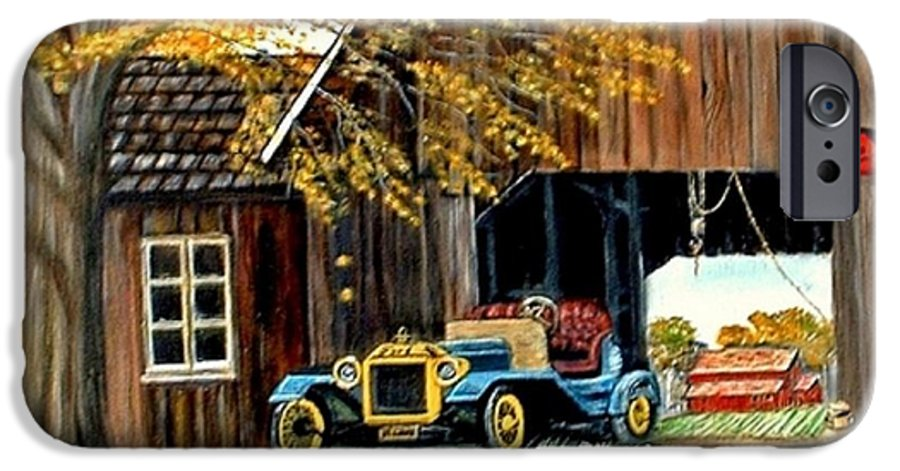 Old Barn Car IPhone 6 Case featuring the painting Old Barn And Old Car by Kenneth LePoidevin