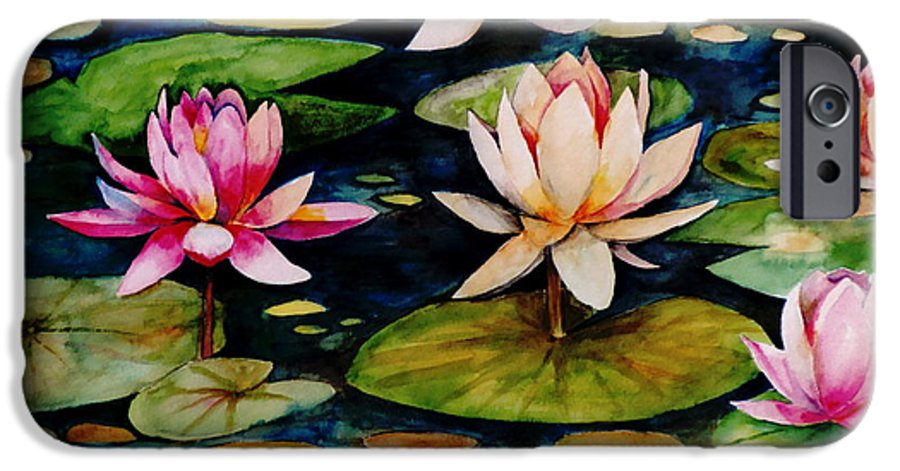 Lily IPhone 6 Case featuring the painting On Lily Pond by Jun Jamosmos