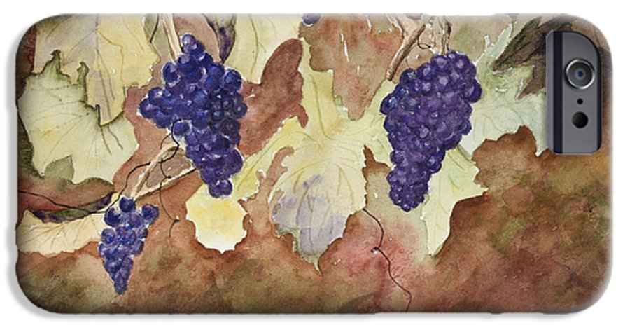 Grapes IPhone 6 Case featuring the painting On The Vine by Patricia Novack