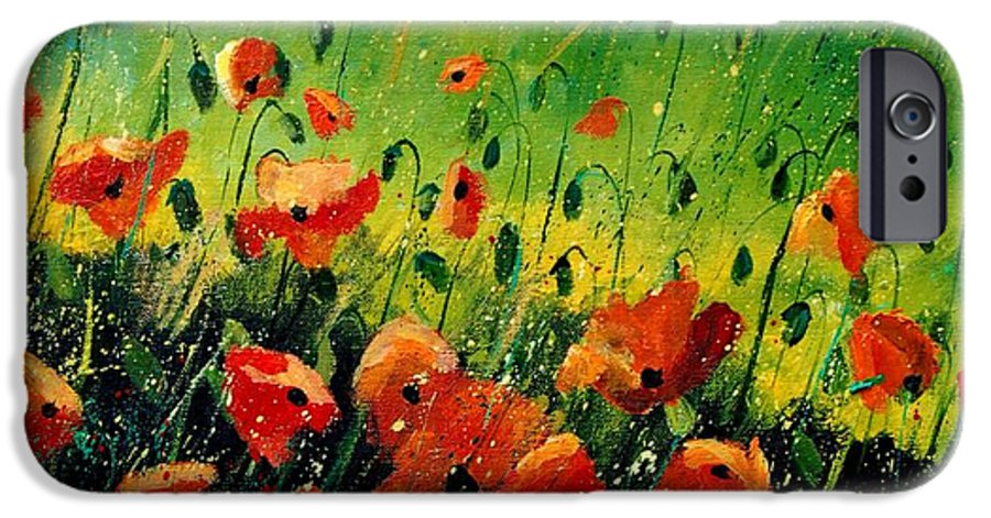 Poppies IPhone 6 Case featuring the painting Orange Poppies by Pol Ledent
