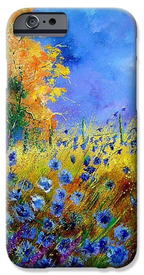 Poppies IPhone 6 Case featuring the painting Orange Tree And Blue Cornflowers by Pol Ledent