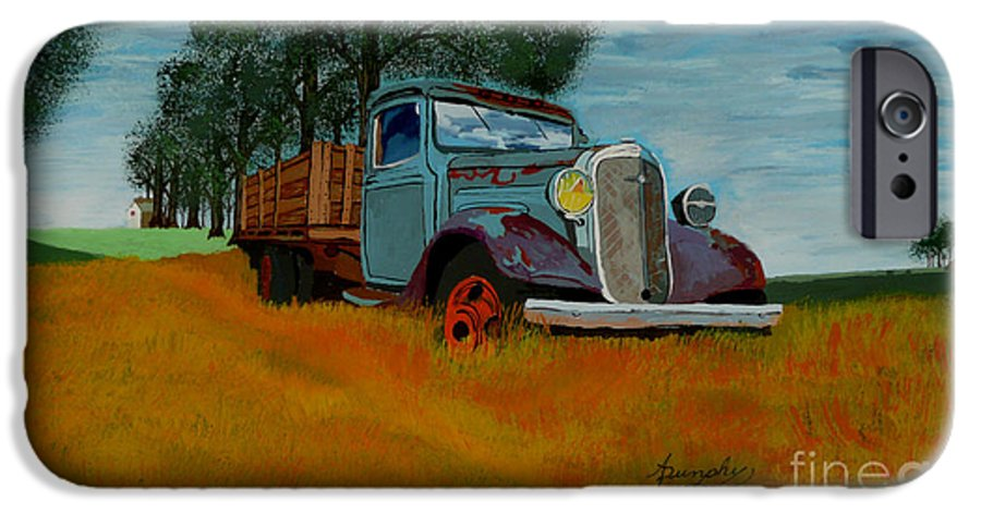Truck IPhone 6 Case featuring the painting Out To Pasture by Anthony Dunphy