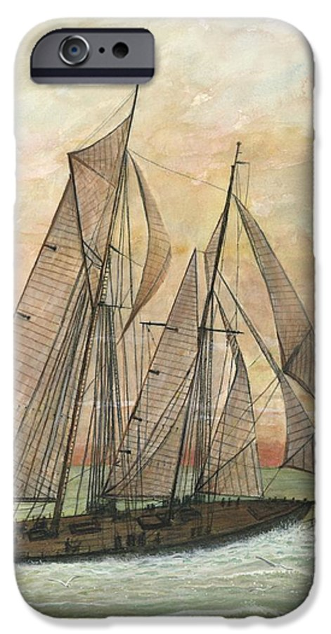 Sailboat; Ocean; Sunset IPhone 6 Case featuring the painting Out To Sea by Ben Kiger