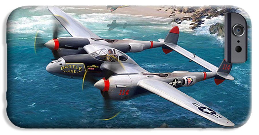 Airplanes IPhone 6 Case featuring the painting P-38 Lightning Battle Axe by Mark Karvon