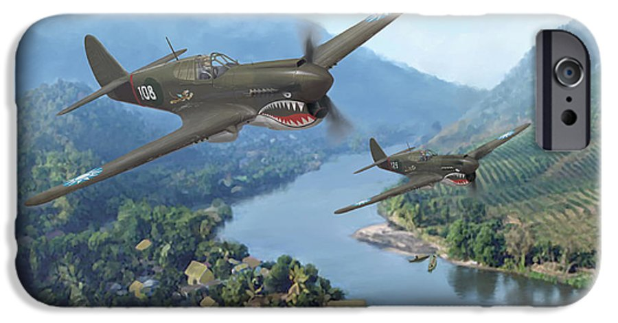Airplanes IPhone 6 Case featuring the painting P-40 Warhawks Of The 23rd Fg by Mark Karvon