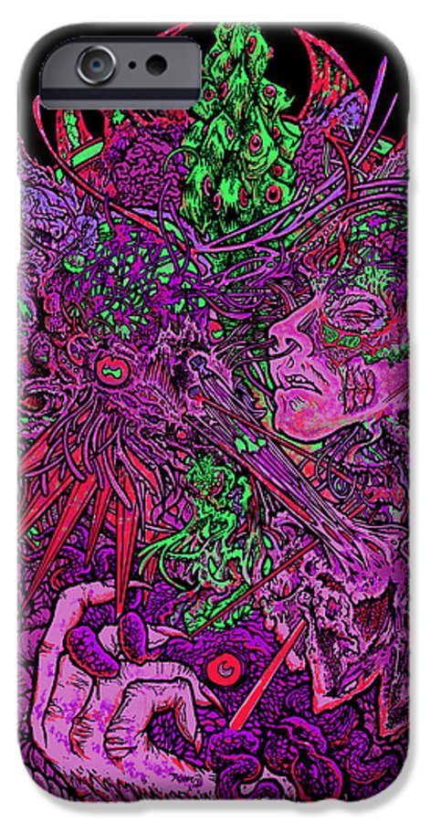 #esoteric #occult #parasite #3rdeye #consciousness #burningman #newage #darkage #darkart #metal #grindcore #jobforacowboy IPhone 6 Case featuring the mixed media Parasitic Obstruction by Thomas Ambrose DENNEY