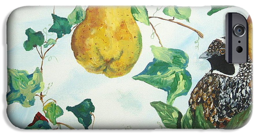Tree IPhone 6 Case featuring the painting Partridge And Pears by Reina Resto