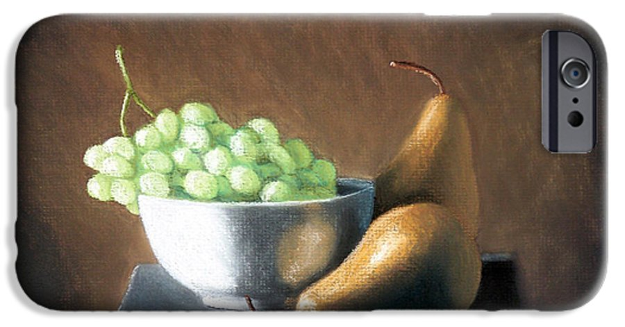Pastel IPhone 6 Case featuring the painting Pears And Grapes by Joseph Ogle