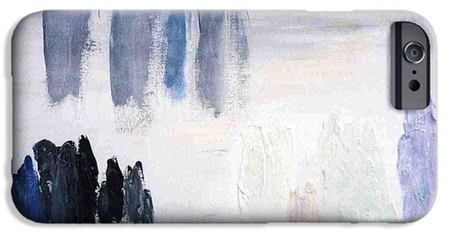 White Landscape IPhone 6 Case featuring the painting People Come And They Go by Bruce Combs - REACH BEYOND