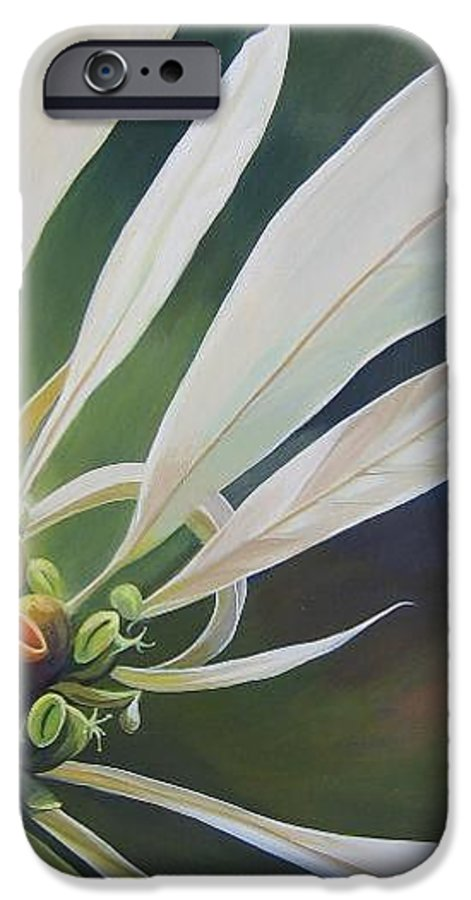 White Poinsettia IPhone 6 Case featuring the painting Phenomenal World by Hunter Jay