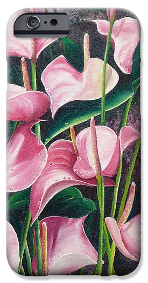 Floral Flowers Lilies Pink IPhone 6 Case featuring the painting Pink Anthuriums by Karin Dawn Kelshall- Best