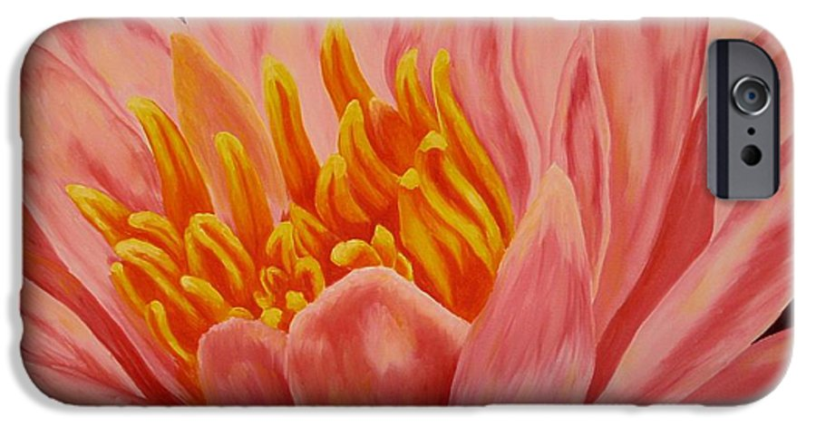 Oil IPhone 6 Case featuring the painting Pink Waterlily by Darla Brock