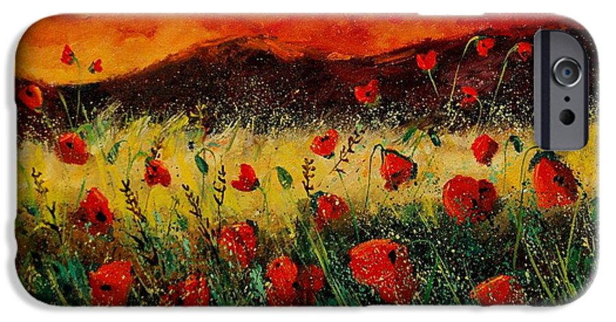 Poppies IPhone 6 Case featuring the painting Poppies 68 by Pol Ledent