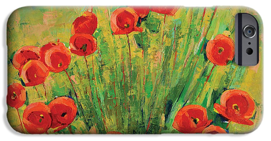 Poppies IPhone 6 Case featuring the painting Poppies by Iliyan Bozhanov