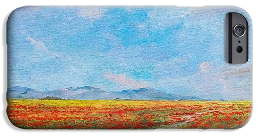 Poppy Field IPhone 6 Case featuring the painting Poppy Field by Sinisa Saratlic