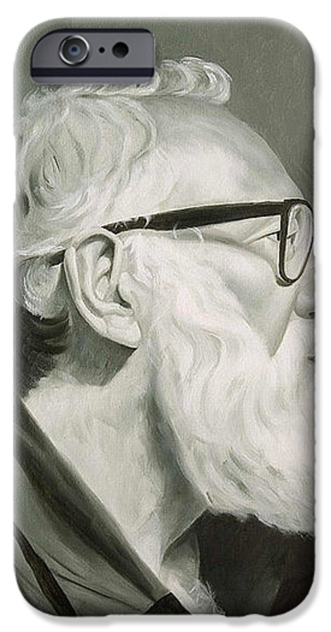 Portrait IPhone 6 Case featuring the painting Portrait In Grisaille by Gary Hernandez