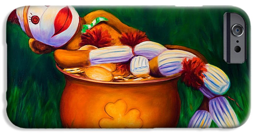 St. Patrick's Day IPhone 6 Case featuring the painting Pot O Gold by Shannon Grissom