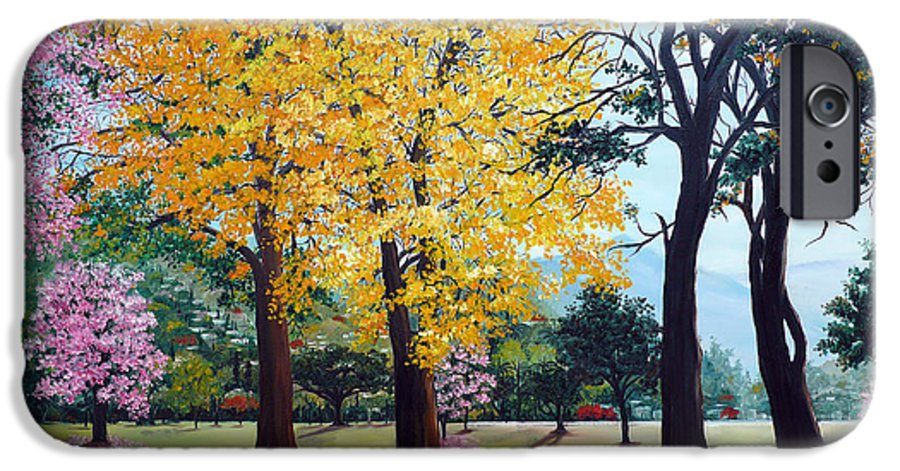 Tree Painting Landscape Painting Caribbean Painting Poui Tree Yellow Blossoms Trinidad Queens Park Savannah Port Of Spain Trinidad And Tobago Painting Savannah Tropical Painting IPhone 6 Case featuring the painting Poui Trees In The Savannah by Karin Dawn Kelshall- Best