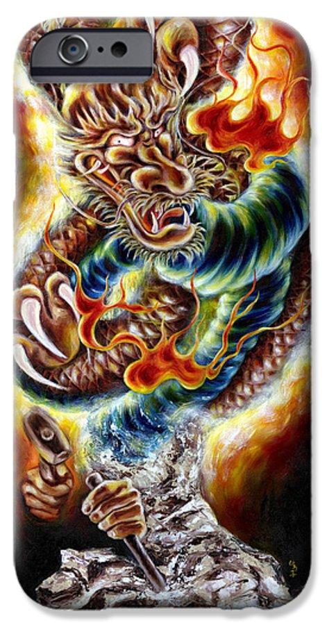 Caving IPhone 6 Case featuring the painting Power Of Spirit by Hiroko Sakai
