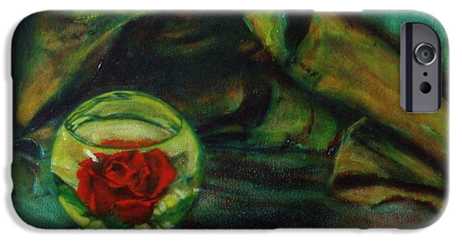 Still Life IPhone 6 Case featuring the painting Preserved Rose . . Draped Canvas by Sean Connolly