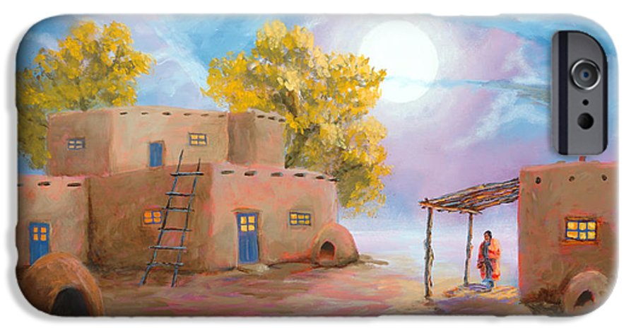 Pueblo IPhone 6 Case featuring the painting Pueblo De Las Lunas by Jerry McElroy