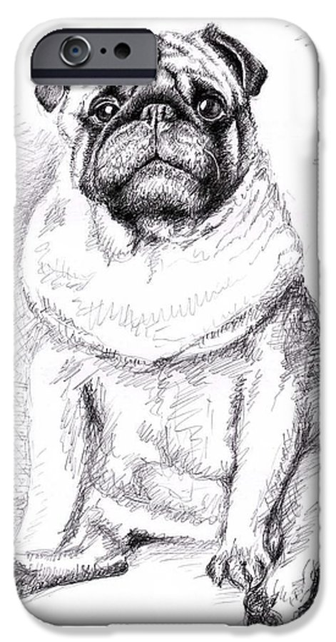 Dog IPhone 6 Case featuring the drawing Pug Anton by Nicole Zeug