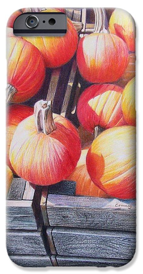 Pumpkins IPhone 6 Case featuring the painting Pumpkins by Constance Drescher