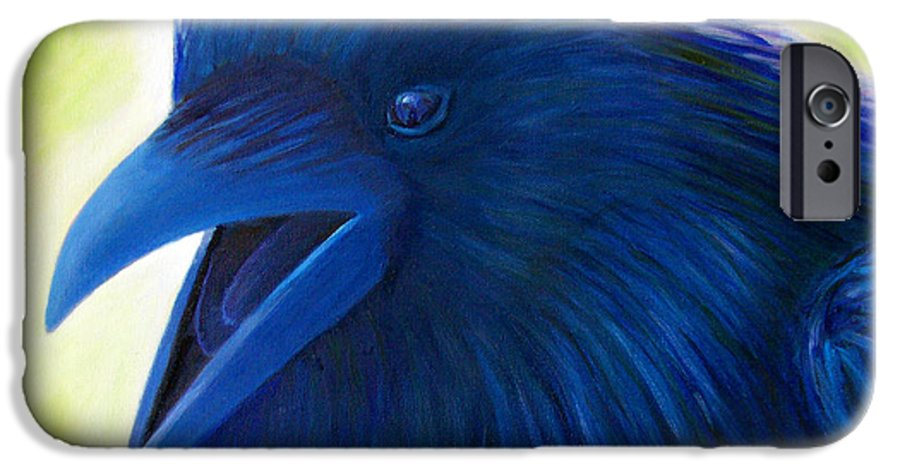 Raven IPhone 6 Case featuring the painting Raaawk by Brian Commerford