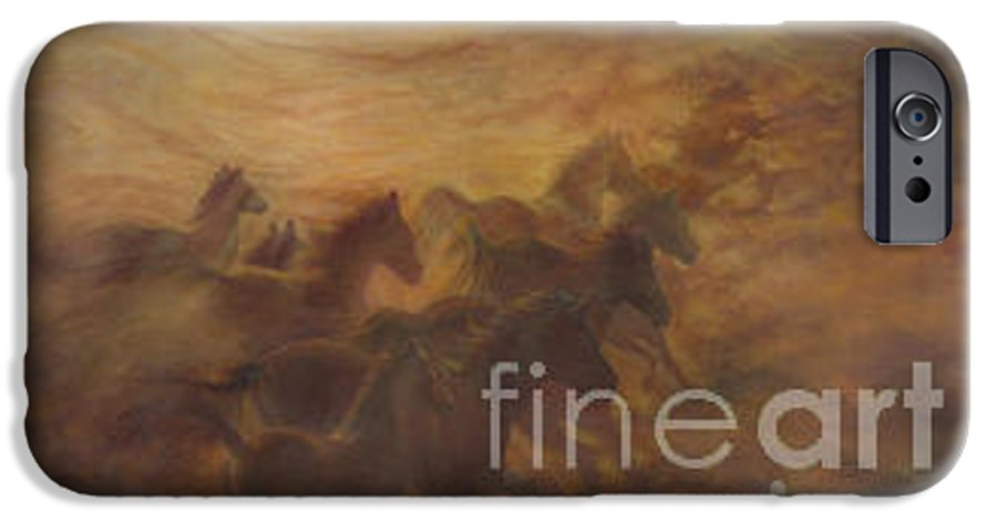 Horse IPhone 6 Case featuring the painting Racing The Wind by Wendy Froshay