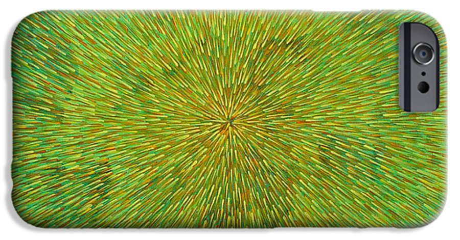 Abstract IPhone 6 Case featuring the painting Radiation With Green Yellow And Orange by Dean Triolo