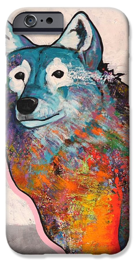 Animal IPhone 6 Case featuring the painting Rainbow Warrior - Alfa Wolf by Joe Triano