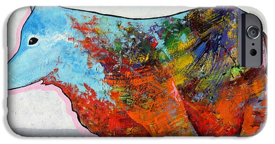 Animal IPhone 6 Case featuring the painting Rainbow Warrior - Coyote by Joe Triano