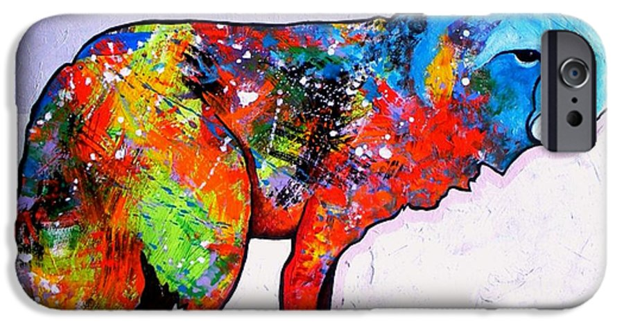 Animal IPhone 6 Case featuring the painting Rainbow Warrior - Fox by Joe Triano