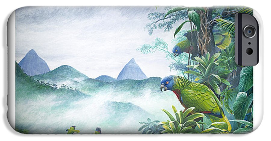 Chris Cox IPhone 6 Case featuring the painting Rainforest Realm - St. Lucia Parrots by Christopher Cox