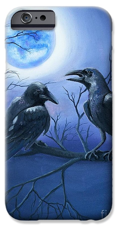 Ravens IPhone 6 Case featuring the painting Raven's Moon by Lora Duguay