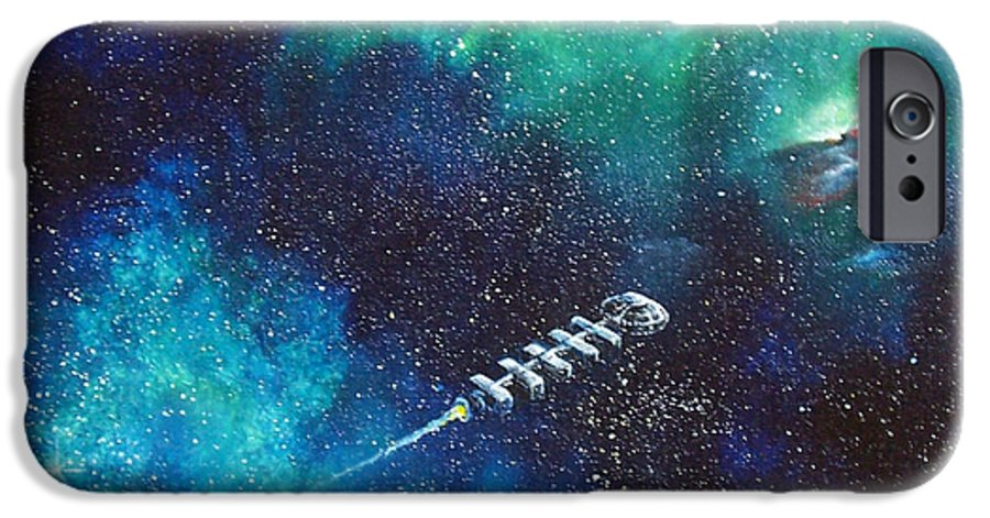 Spacescape IPhone 6 Case featuring the painting Reaching Out by Murphy Elliott