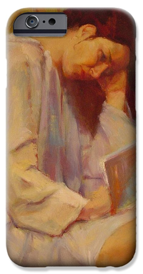 Figure IPhone 6 Case featuring the painting Reading In The Blue Robe by Irena Jablonski