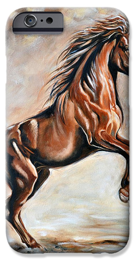 Horse IPhone 6 Case featuring the painting Red Beauty by Ilse Kleyn