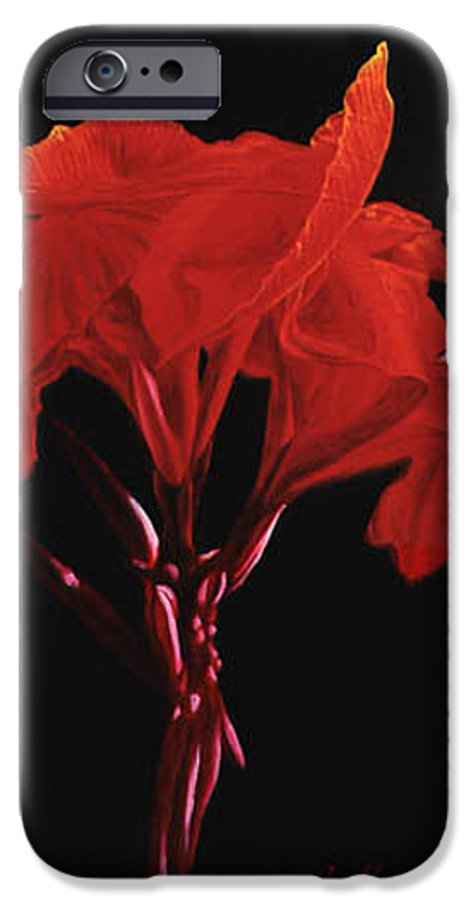 Floral IPhone 6 Case featuring the painting Red Canna by Gary Hernandez